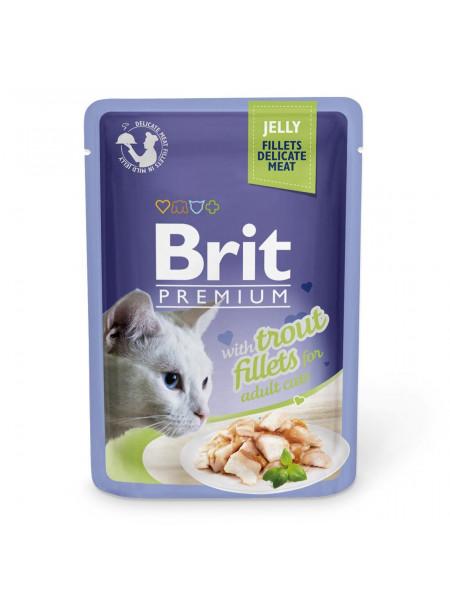 Влажный корм для кошек Brit Premium Cat Trout Fillets Jelly pouch 85 г (филе форели в желе)