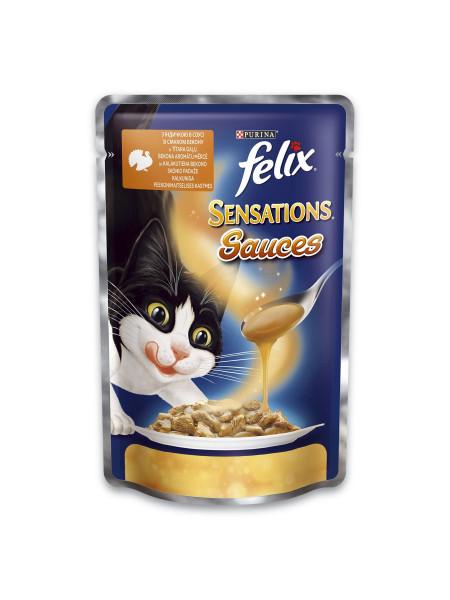 Влажный корм для кошек Felix Sensations Sauces Turkey & Bacon 100 г (индейка и бекон)