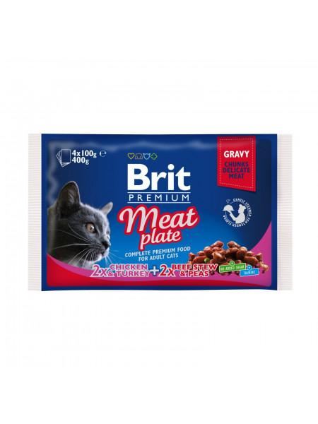 Влажный корм для кошек Brit Premium Cat Meat Plate pouches 400 г (ассорти из 2 вкусов «Мясная тарелка»)