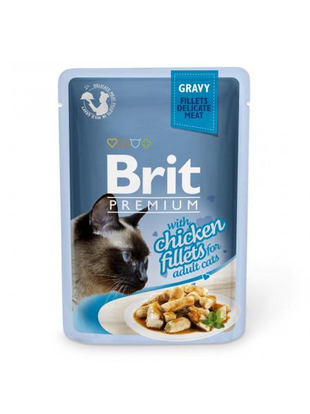 Влажный корм для кошек Brit Premium Cat Chicken Fillets Gravy pouch 85 г (филе курицы в соусе)