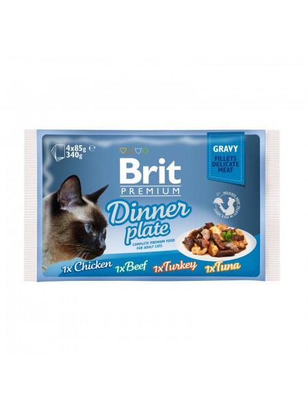 Влажный корм для кошек Brit Premium Cat Dinner Plate Fillets Gravy pouches 340 г (ассорти из 4 вкусов «Обеденная тарелка» в соусе)