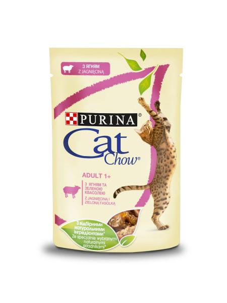 Влажный корм для кошек Cat Chow Adult 85 г (ягненок и фасоль)