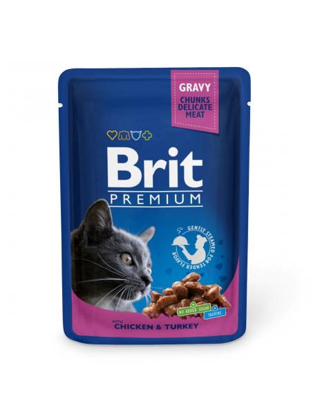 Влажный корм для кошек Brit Premium Cat Chicken & Turkey pouch 100 г (курица и индейка)