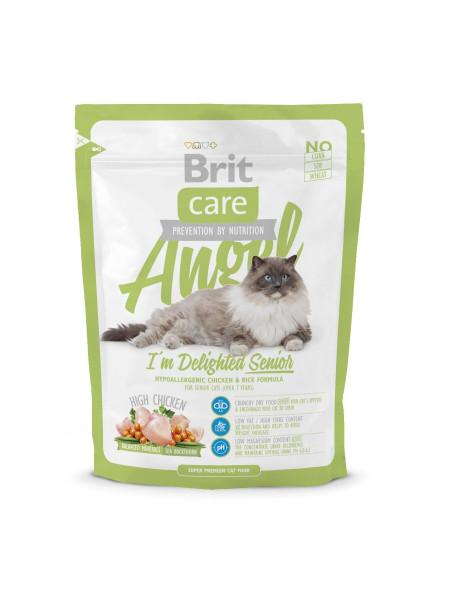 Сухой корм для пожилых кошек Brit Care Cat Angel I am Delighted Senior 400 г (курица и рис)