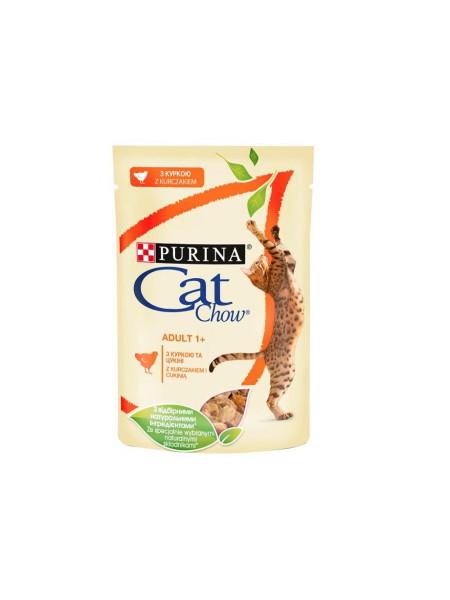Влажный корм для для стерилизованных кошек Cat Chow Adult 85 г (курица и баклажаны)