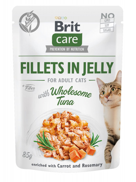 Влажный корм для котов Brit Care Cat pouch 85 г (тунец в желе)