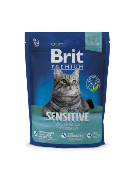 Сухой корм для кошек с чувствительным пищеварением Brit Premium Cat Sensitive 300 г (ягненок)