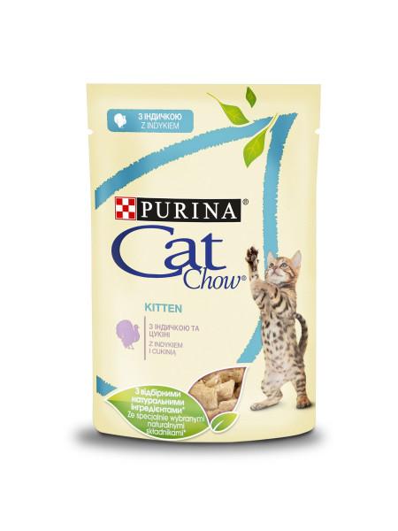 Влажный корм для котят Cat Chow Kitten 85 г (индейка и цуккини)