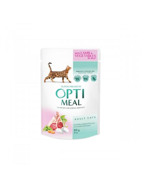Влажный корм для взрослых кошек Optimeal 85 г (ягнёнок и овощи)