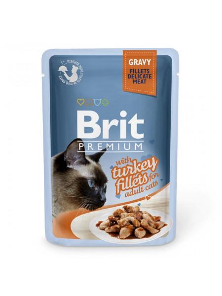 Влажный корм для кошек Brit Premium Cat Turkey Fillets Gravy pouch 85 г (филе индейки в соусе)