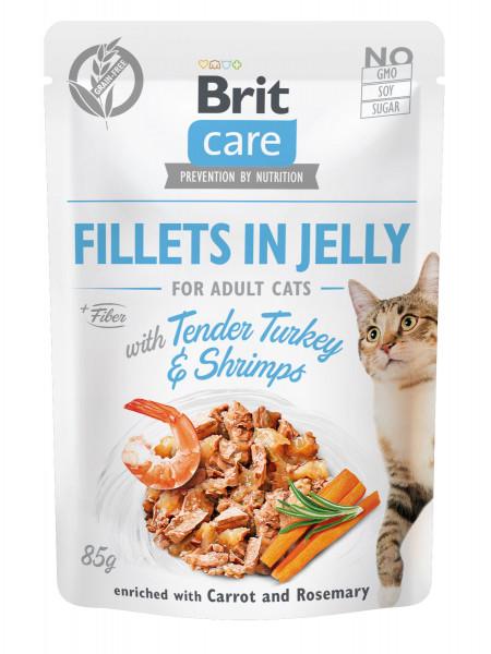 Влажный корм для кошек Brit Care Cat pouch 85 г (индейка с креветками в желе)