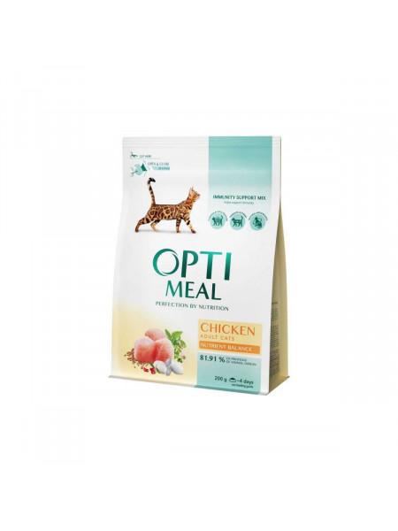 Сухой корм для взрослых кошек Optimeal Adult Cat Chicken 200 г (курица)