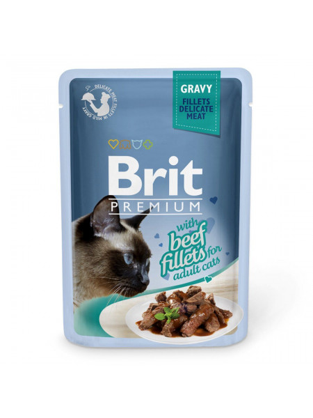 Влажный корм для кошек Brit Premium Cat Beef Fillets Gravy pouch 85 г (филе говядины в соусе)
