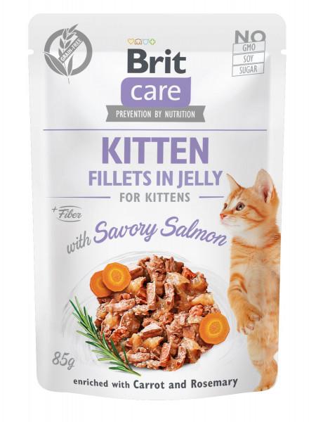 Влажный корм для котят Brit Care Cat pouch 85 г (лосось в желе)