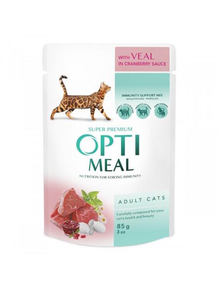 Влажный корм для взрослых кошек Optimeal 85 г (телятина)