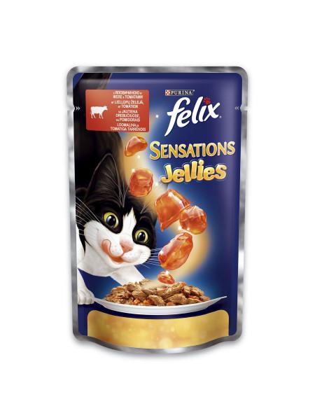 Влажный корм для кошек Felix Sensations Jellies Beef & Tomatoes 100 г (говядина и томаты)