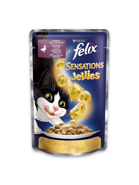 Влажный корм для кошек Felix Sensations Jellies Duck & Spinach 100 г (утка и шпинат)