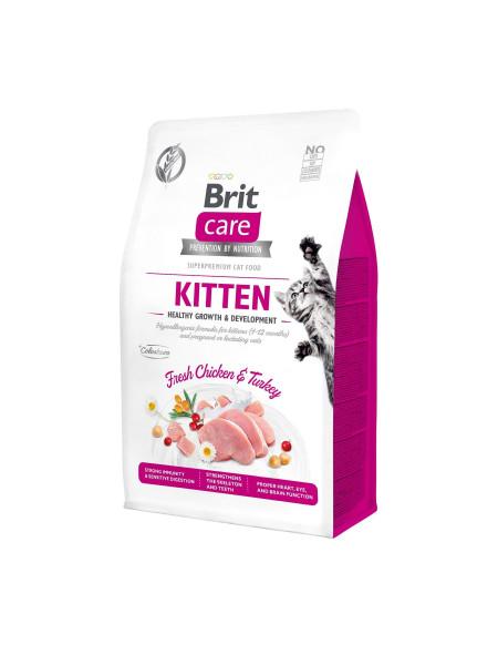 Сухой корм для котят Brit Care Cat GF Kitten HGrowth & Development 400 г (курица и индейка)
