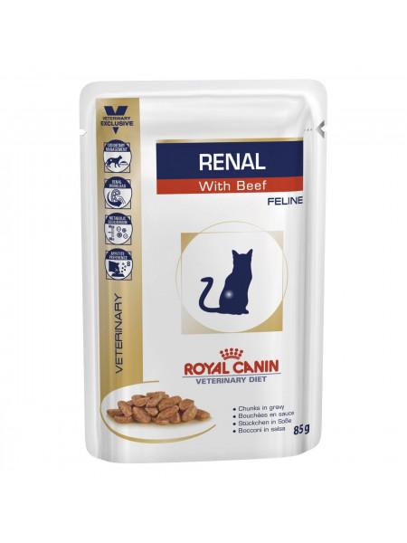 Влажный корм для кошек, при заболеваниях почек Royal Canin Renal 85 г (говядина)
