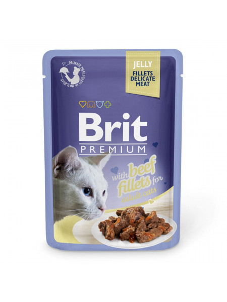 Влажный корм для кошек Brit Premium Cat Beef Fillets Jelly pouch 85 г (филе говядины в желе)