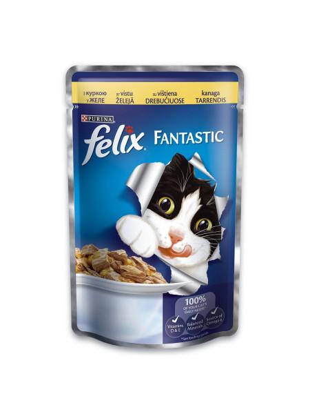 Влажный корм для кошек Felix Fantastic Chicken 100 г (курица)
