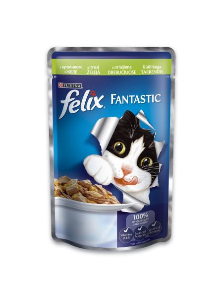 Влажный корм для кошек Felix Fantastic Rabbit 100 г (кролик)