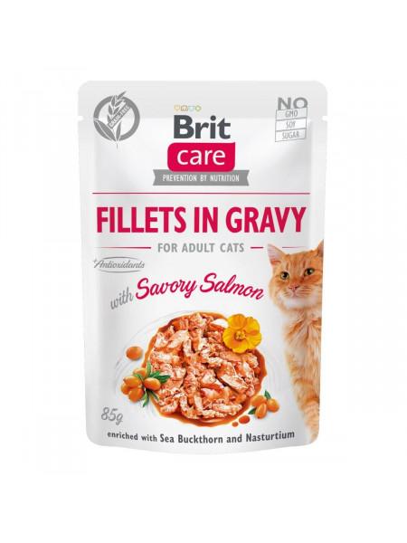 Влажный корм для кошек Brit Care Cat pouch 85g (филе лосося в соусе)