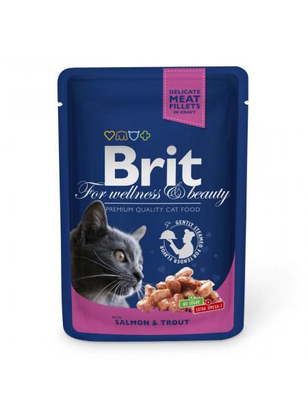Влажный корм для кошек Brit Premium Salmon & Trout pouch 100 г (лосось и форель)