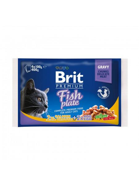 Влажный корм для кошек Brit Premium Cat Fish Plate pouches 400 г (ассорти из 2 вкусов «Рыбная тарелка»)