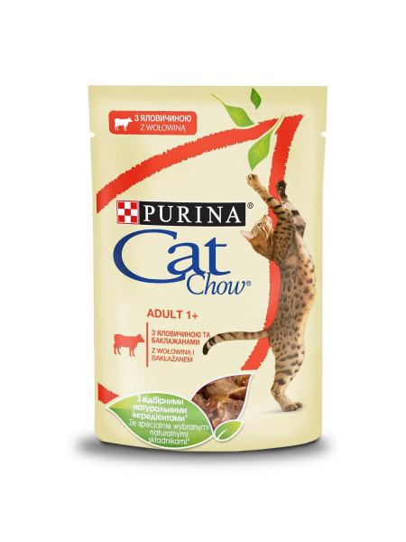 Влажный корм для кошек Cat Chow Adult 85 г (говядина и баклажаны)