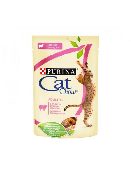 Влажный корм для для стерилизованных кошек Cat Chow Adult 85 г (ягнёнок и фасоль)