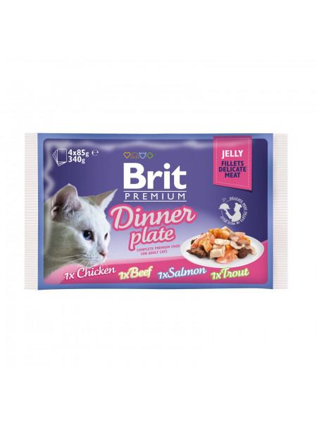 Влажный корм для кошек Brit Premium Cat Dinner Plate Fillets Jelly pouches 340 г (ассорти из 4 вкусов «Обеденная тарелка» в желе)