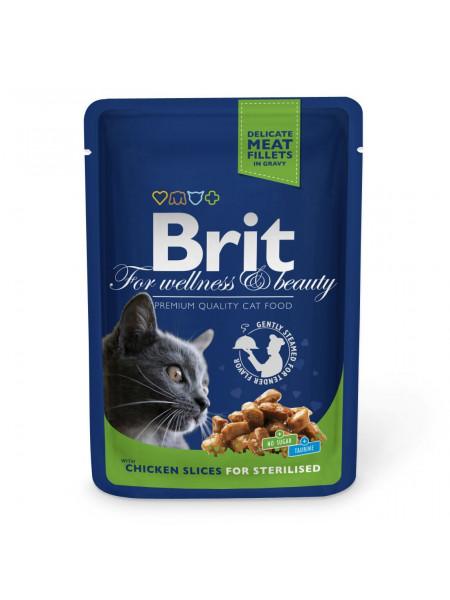 Влажный корм для стерилизованных кошек Brit Premium Cat Chicken Slices for Sterilised pouch 100 г (кусочки курицы)