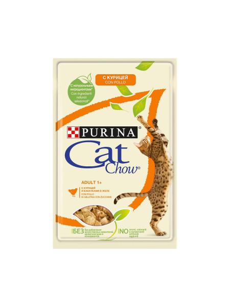 Влажный корм для выведения шерсти у кошек Cat Chow Adult 85 г (курица и фасоль)
