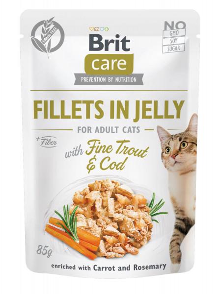 Влажный корм для котов Brit Care Cat pouch 85 г (треска и форель в желе)