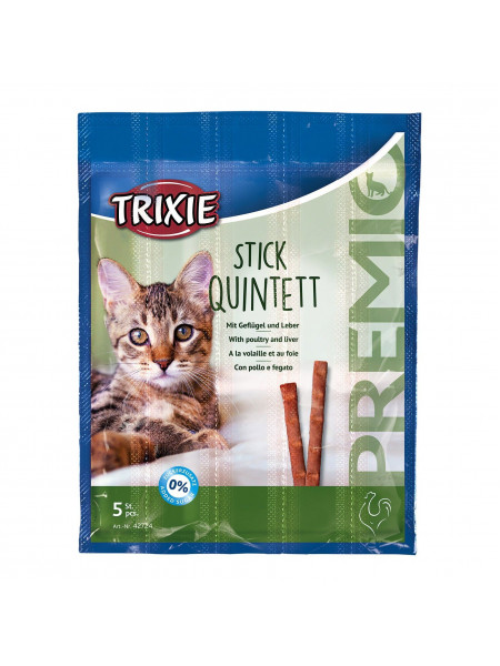 Лакомство для кошек Trixie PREMIO Quadro-Sticks 5 шт. (домашняя птица)