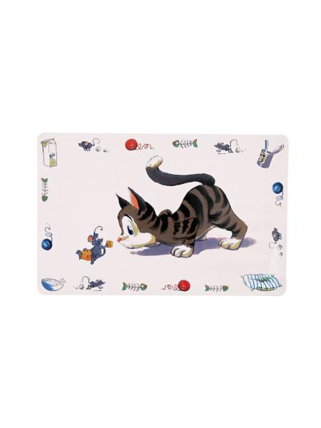 Коврик под миску Trixie «Comic Cat» 44 см / 28 см (серый)