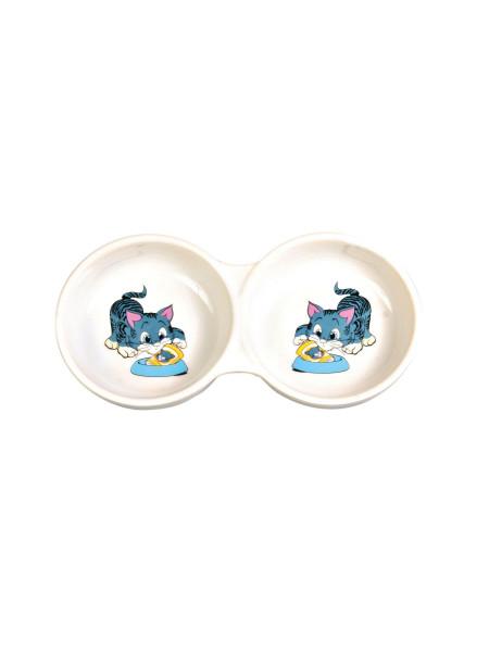 Миска керамическая Trixie двойная 2 x 150 мл / 11 см (белая)