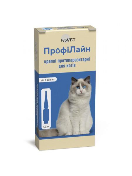 Капли на холку для кошек ProVET «ПрофиЛайн» от 4 до 8 кг, 4 пипетки (от внешних паразитов)