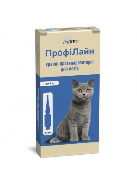 Капли на холку для кошек ProVET «ПрофиЛайн» до 4 кг, 4 пипетки (от внешних паразитов)