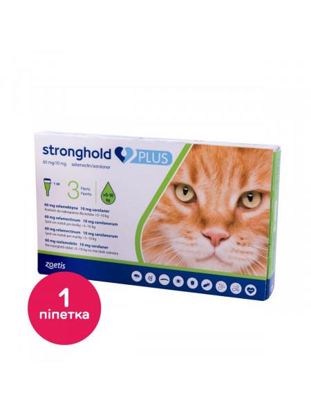 Капли на холку для кошек Стронгхолд Плюс 60 мг 10 мг, от 5 до 10 кг, 1 пипетка (от внешних и внутренних паразитов)