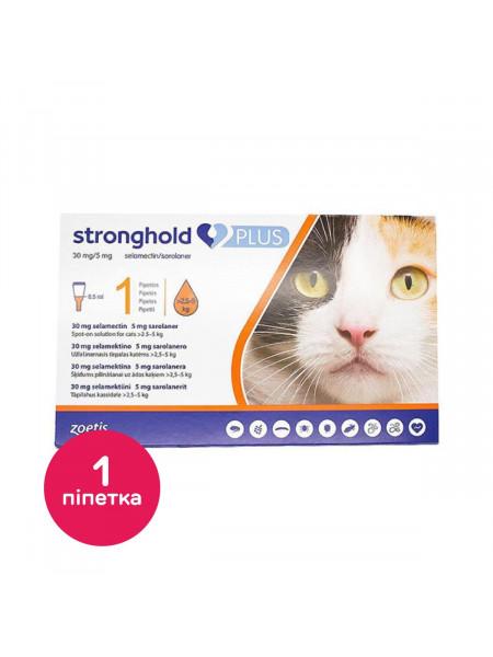 Капли на холку для кошек Стронгхолд Плюс 30 мг 2,5 мг, от 2,5 до 5кг, 1 пипетка (от внешних и внутренних паразитов)