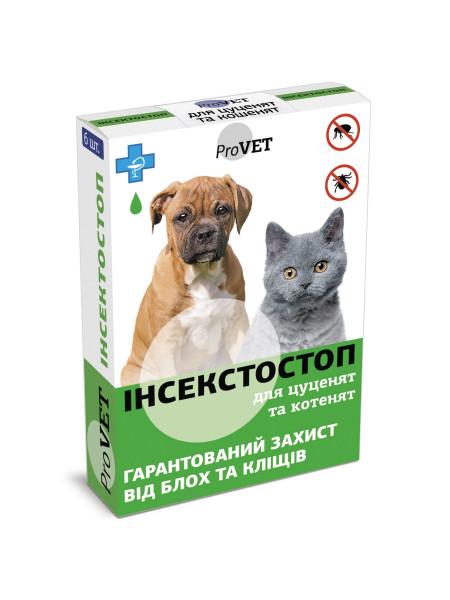Капли на холку для кошек и собак ProVET «Инсектостоп» до 3 кг, 6 пипеток (от внешних паразитов)