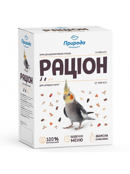 Корм для средних попугаев Природа «Рацион» 1,5 кг