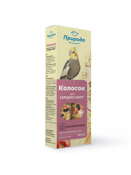 Лакомство для средних попугаев Природа «Колосок» 140 г / 2 шт. (мультифрукт)