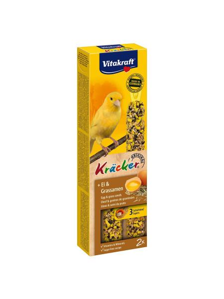 Лакомство для канареек Vitakraft «Kracker Original + Egg & Grass Seeds» 54 г / 2 шт. (яйцо и семена)