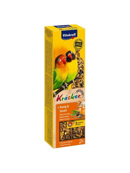 Лакомство для средних африканских попугаев Vitakraft «Kracker Original + Honey & Sesame» 180 г / 2 шт. (мёд и кунжут)