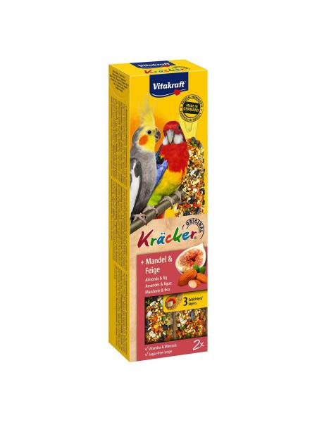 Лакомство для средних попугаев Vitakraft «Kracker Original + Almonds & Fig» 180 г / 2 шт. (миндаль и рис)