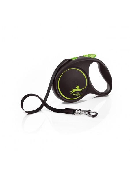 Поводок-Рулетка Flexi с лентой «Black Design» M 5 м / 25 кг (зелёная)