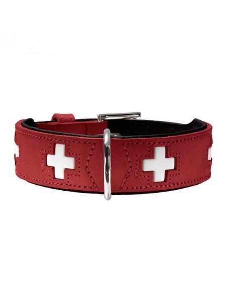 Ошейник Hunter кожаный «Swiss» 51-58,5 см / 39 мм (красный)